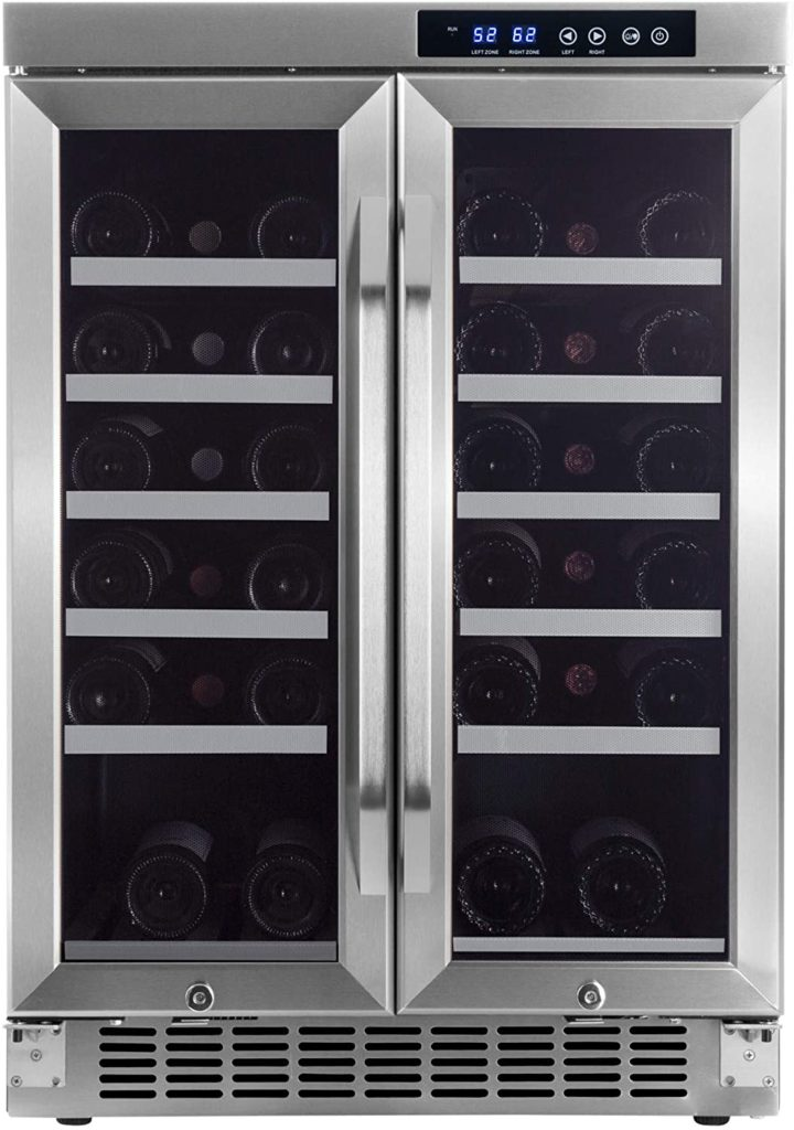 Edge Star 36 Bottle Built-In Dual Zone French Door Wine Cooler