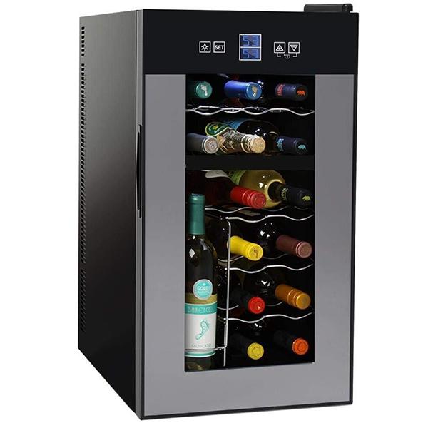 NutriChef Dual-Zone Wine Cooler (18 Bottle)